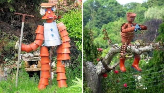 Человечки из цветочных горшков – оригинальная идея для дачи