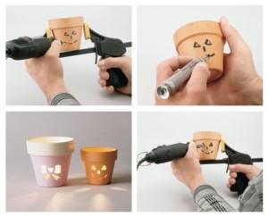 Идея для фонарика из цветочного горшка