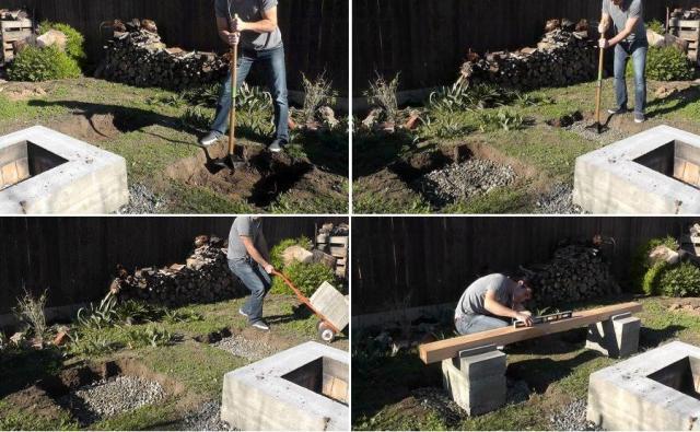 После того как бетонные опоры высохнут, раскрутите шурупы, которые скрепляют ящик