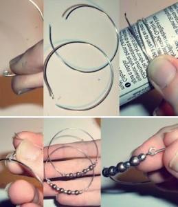 Чтобы сделать самые простые серёжки, достаточно продеть проволоку сквозь бусину и скрутить концы проволоки между собой спиралью