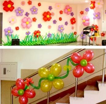 Украшение зала шарами
