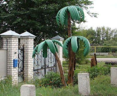 Пальма из покрышек