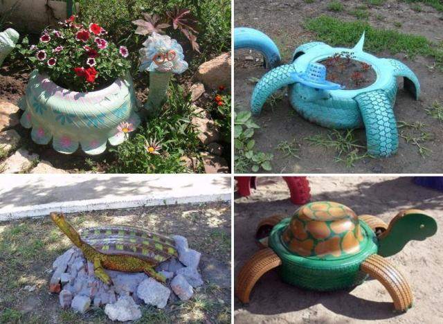 черепахи из автомобильных шин
