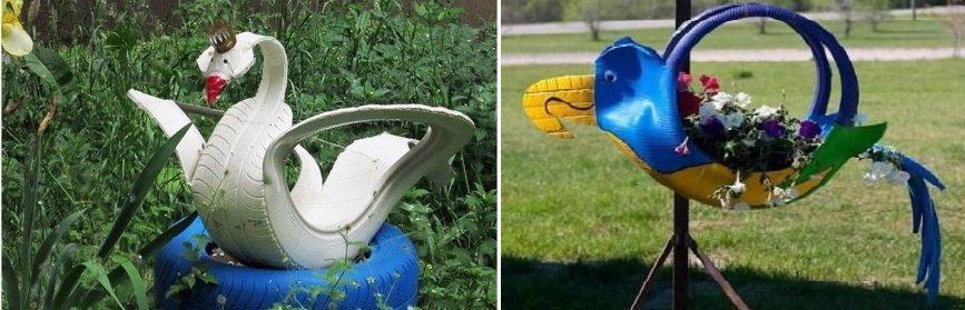 попугай и лебедь: поделки из автомобильных покрышек