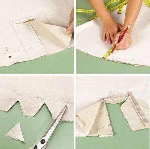 Из отреза ткани необходимо вырезать два квадрата размерами 150150 см. Для того чтобы сделать круг квадраты необходимо сложить в четыре раза, отмерить 0,65 м и отрезать.