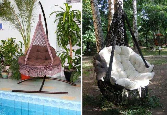 Полукруглые конструкции очень удобны для отдыха, при этом подвесить их можно на дереве или другой опоре