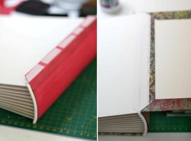 Из плотной бумаги сделайте корешок, который полностью закроет переплёт