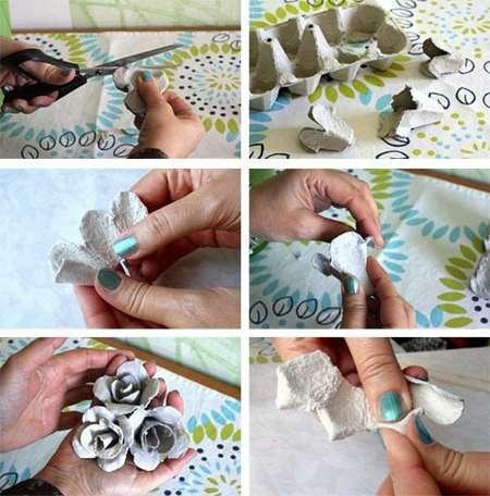 Есть и другие методы вырезания цветов из яичных лотков