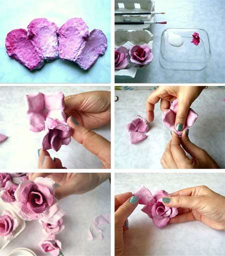 как сделать цветы из яичных коробок