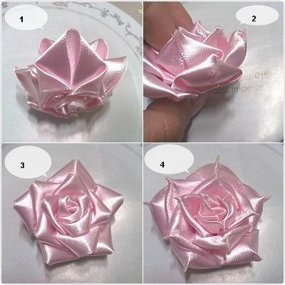 Подобной техникой можно сделать розы из узких лент, при этом не придется ее перегибать, достаточно всего лишь присобрать одну кромку