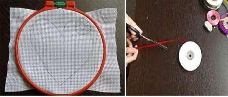 Это может быть круг, сердце или любая другая фигура. Когда вы освоите азы вышивания лентам, то сможете перейти к более сложным рисункам