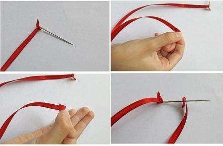 Чтобы сделать узелок, нужно конец иголки вставить в конец ленты и протянуть последнюю через ушко иголки.