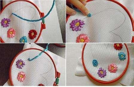 Сделайте бутон розы подходящего диаметра. Подобным образом вышейте розы другого цвета.