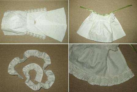 На передней части одежды сделайте выточки для животика Тильды