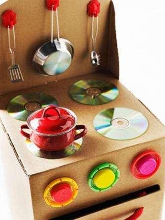 Из картонной коробки можно сделать кухонную плиту. Комфорки вы можете нарисовать красками или сделать из картона или ненужных CD-дисков.
