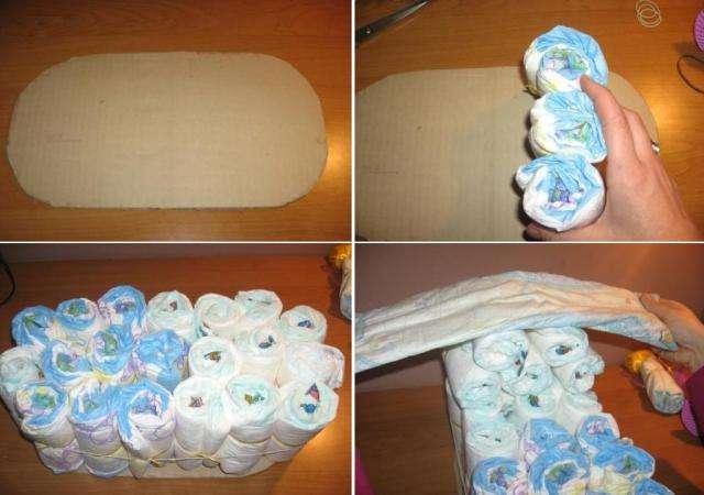В первую очередь необходимо сделать из картона основу для коляски овальной формы. Возьмите 30 памперсов и начните их сворачивать трубочкой