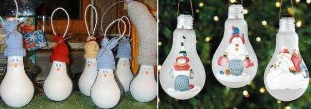 украшения на Новый Год из старых лампочек