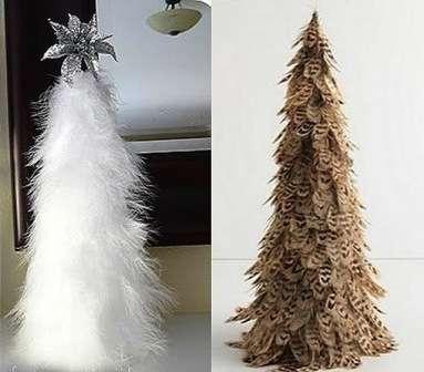 Декоративная елка из перьев своими руками
