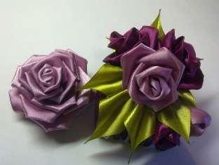 Канзаши мастер класс. Цветы из атласных лент