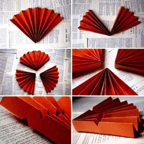 Пошаговое выполнение, веер из бумаги