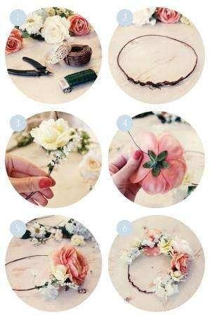 Цветы, также как и в предыдущем случае, нужно отрезать от стебля и приклеивать клеевым пистолетом
