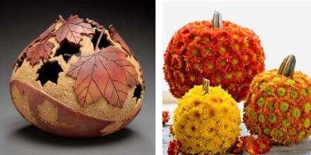 Из плодов тыквы легко можно сделать много поделок для украшения интерьера.