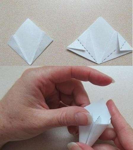 Затем эти же уголки нужно загнуть пополам так, чтоб получились выступающие за контур ромба треугольники. Эти треугольнички нужно загнуть, чтоб они не выступали за пределы ромба.