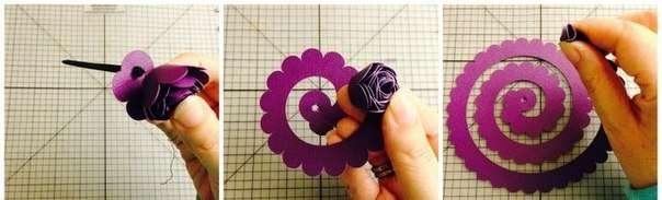 Сделайте много таких цветочков разного цвета. Спираль по внешнему краю может быть ровной, с треугольными зазубринами или волнами.