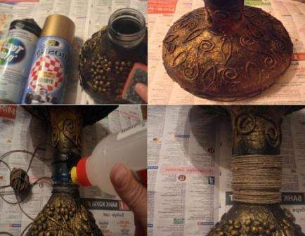 Когда заготовки высохнут, покрасьте их аэрозольной краской. За основу можете взять черную или коричневую, а сверху затонировать золотой или серебрянной. Соедините заготовки для вазы горлышками друг к другу.
