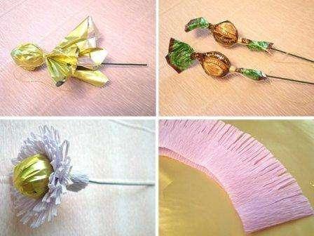 Теперь можете сделать нераспустившиеся бутоны цветов из гафрированной бумаги.