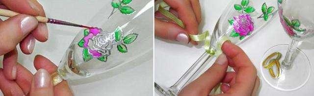 С помощью кисти и витражных красок аккуратно раскрасьте наклейки