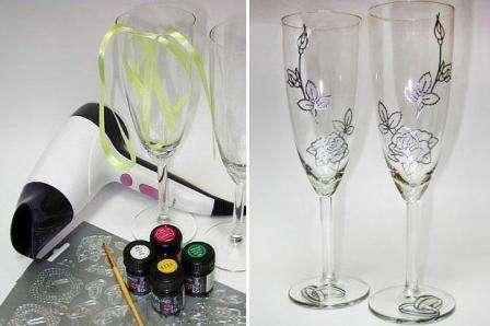 Делаем бокалы на свадьбу и дополняем их витражными красками