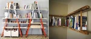 Полки из лестниц и обычных досок помогут создать весьма необычный уголок в интерьере.