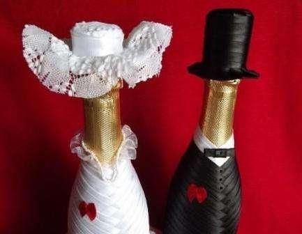 Украшаем самостоятельно бутылку шампанского