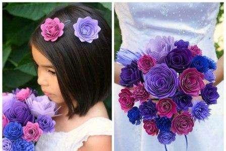 После того как много цветочков готово, соберите их в букетик. Дополнительно букетик можете украсить ленточками и бусинами.