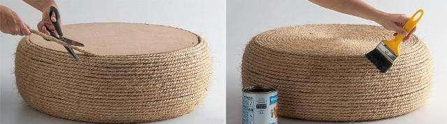 Можно нанести на уже готовый пуфик бесцветный лак, который будет надежно защищать его от загрязнений