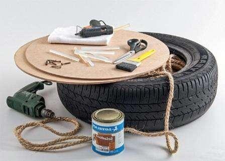 Как сделать пуфик из автомобильных шин своими руками