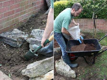 На втором этапе выкладываем основу рокария. Подбираем камни, главное, чтобы они были из одной породы и разного размера