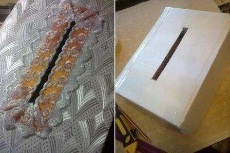 Аналогично коробке, она тоже обязательно обтягивается тканевым материалом и украшена лентой
