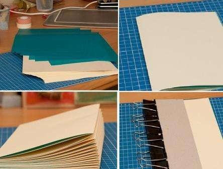 Возьмите примерно 13 цветных листов и сложите их пополам.</p> <p> Вы можете чередовать листы бежевого и синего цвета, все зависит от вашей фантазии.</p> <p> Таких заготовок вы должны подготовить 10 штук. В результате ваш блокнот будет формата А5 со 130 страницами.» width=»444″ height=»336″/></p></div> </p> <p>Чтобы спрессовать блокнот, вам нужно приложить с двух сторон картона и закрепить канцелярскими прищепками. Оставьте на 10-15 часов листы по таким прессом.</p> <p> После этого закрепите клипсами его с другой стороны.</p> <p> Теперь вам нужно сделать дырочки на переплете на одинаковом расстоянии.</p> <p> Сделать это удобно шилом или обычным напильником.</p> <p>Узнайте как делать фотоальбом из статьи: Скрапбукинг альбом своими руками</p> <p>Из ткани вырежьте две ленты шириной такой же как и расстояния между дырочками на переплёте.</p> <p> Они будут скреплять все части блокнота.</p> <p> Начните пришивать их на каждую из 10 тетрадей, постепенно из добавляя. Пришить нужно две ленты на одинаковом расстоянии друг от друга.</p> <p> Приложите потом снова картон с двух сторон.</p> <p> Все элеметны блоконота должны быть ровными.</p> <p><div style=