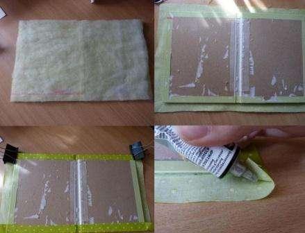 Возьмите ткань подходящей расцветки - она будет определять цвет дневника. Вырежьте прямоугольник из ткани на 2-3 см больше размера обложки дневника