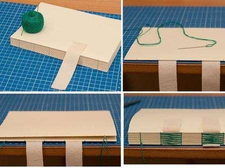Из ткани вырежьте две ленты шириной такой же как и расстояния между дырочками на переплёте. Они будут скреплять все части блокнота. Начните пришивать их на каждую из 10 тетрадей, постепенно из добавляя. Пришить нужно две ленты на одинаковом расстоянии друг от друга. Приложите потом снова картон с двух сторон. Все элеметны блоконота должны быть ровными.