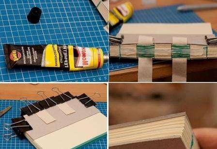 Затем на переплет наносится герметик. Заготовка для блокнота скрепляется картоном со скобками и оставляется на несколько часов.