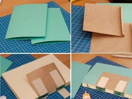 Чтобы скрыть рельеф приклеенных лент под форзацем, приклейте квадраты из крафт-бумаги. Отдельно подготовьте бумагу для скрапбукинга, которая будет украшать наши форзацы. Для обложки используется картон, который приклеивается на картонный корешок. Так вы сделаете каркас для блокнота, который сможете обтянуть тканью. Края ткани проклеиваются и приклеиваются к обложке.