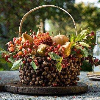 Из шишек ели или сосны получается красивая корзина