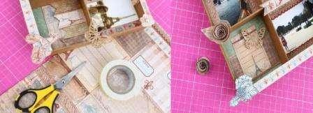 Возьмите крышку от обувной коробки и облейте её коричневой бумагой. Можете подобрать бумагу в цвет вашего интерьера. На дно этой крышки нужно приклеить бумагу с каким-то принтом. Это будет основа панно.