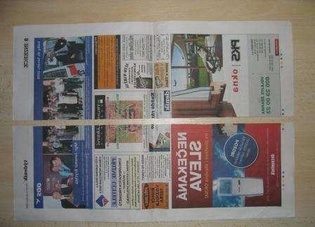 С помощью линейки разделите газету на продольные полосы шириной по 10 см каждая.