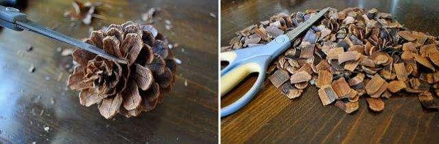Для начала готовим чешуйки. Для этого нужно отделить чешуйки от каждой шишки при помощи ножниц.