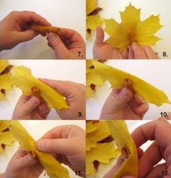 Сначала нужно сложить листочки и намотать их на заготовку, отогнуть края. Получается красивая роза