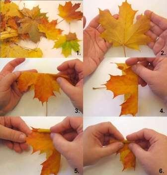 Создаем букеты и розы из осенних листьев